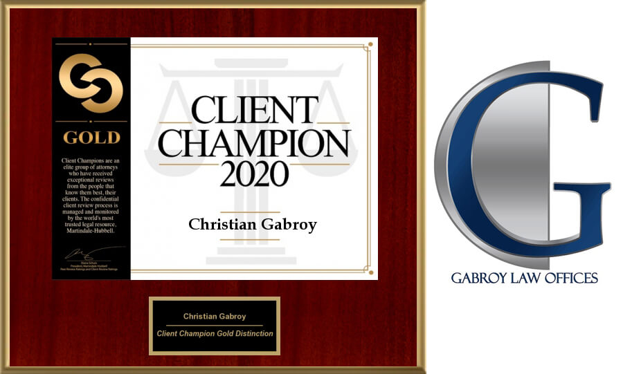 The Martindale-Hubbell 2020 Client Champion Award Has Been Awarded to Christian Gabroy
