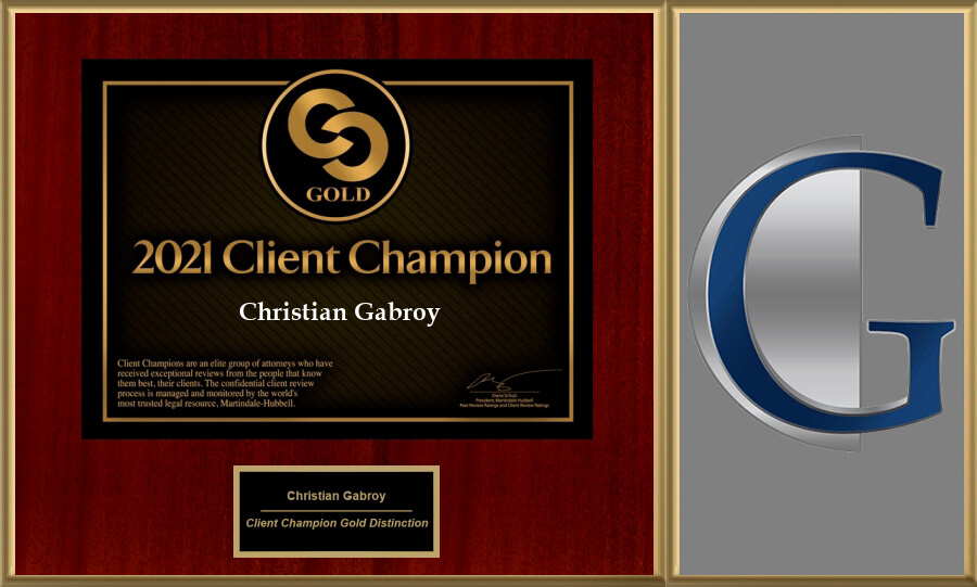 The Martindale-Hubbell 2021 Client Champion Award Has Been Awarded to Christian Gabroy