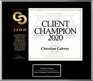Gabroy Law Office's Martindale Hubbell Client Champion Award